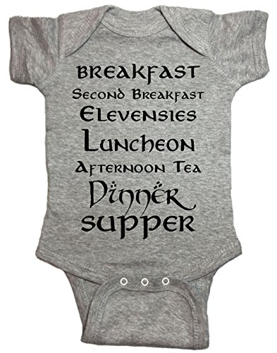 Brain Juice Tees Second Breakfast LOTR Baby One Piece (12 Month, Heather Gray) (Best Breakfast For Infants)