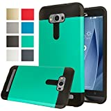 Asus Zenfone 2 Laser ZE500KL ( 5.0 inch) Case, AnoKe [Anti-Shock] Silicone Hard Hybrid Dual Layer Heavy Duty Defender Protective Cover Case (Armor Mint)