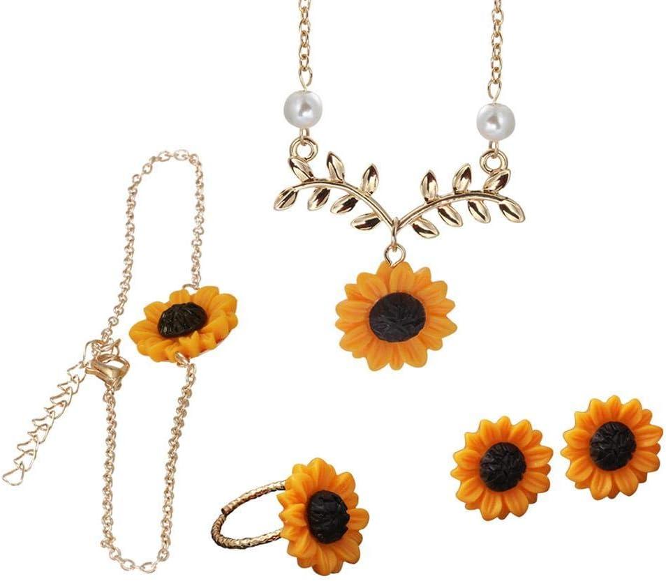 Nuevas Joyas, Collar de Girasol Creativo Americana Hoja Colgante de Flor suéter Cadena Femenina, Anillo, Pendientes, Pulsera de Cuatro Piezas