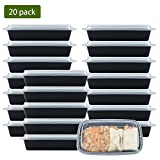 NutriBox [20 Value Pack] Single 1 compartment 28 OZ Meal Prep Plastic Food Storage Containers with lids- BPA Free Reusable Lunch Bento Box - Microwave, Dishwasher and Freezer Safe