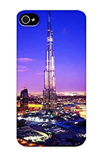 Tpu Fashionable Design Sunset Blue Clouds Cityscapes Night Lights Dubai Scenic Skyscapes Burj Khalifa Rugged Case Cover For Iphone 4/4s / Appearance
