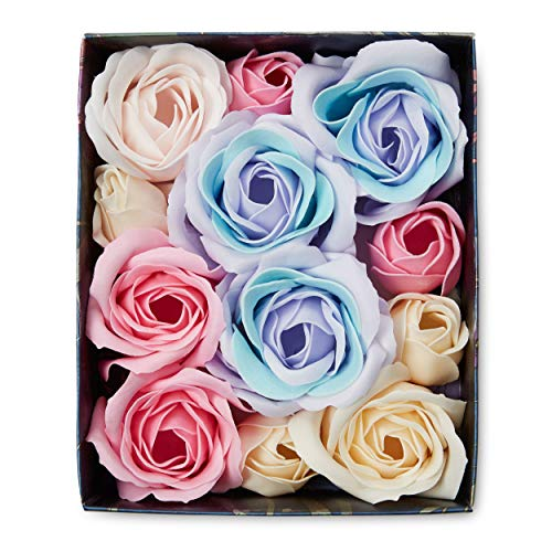 Scented Flower Petals Bath Soap: Lila Grace Rosewater Peony Scented Rose Petal Soap for Hand Washing or Luxurious Bubble Bath Bombs - Gift Box of Flower Shaped Soap - Decorative Soaps for Bathroom ()