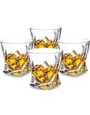 KANARS Twist Bicchieri da Whisky - 4 unità - Set di Vetro in Cristallo di Lusso - Lavabile in Lavastoviglie - Ideale Quale Idea Regalo - 300ml