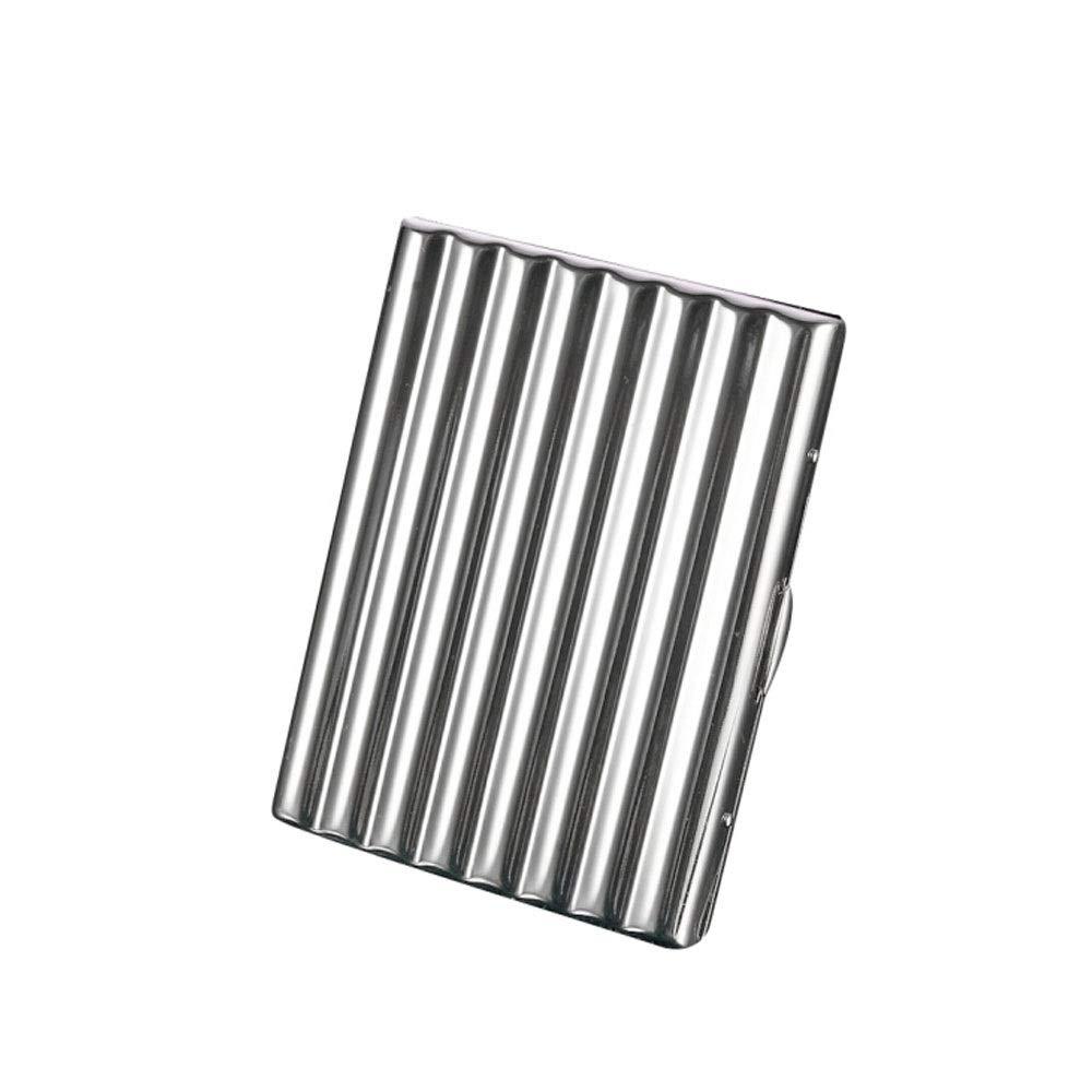 ZHONGYUE Cigarette Case, Chrome-Plated Copper Cigarette Case, Corrugated 10-20 Stick Creative Personalized Cigarette Case, 10/12/16/20 Stick, Unique Design, Sturdy and Lightweight.