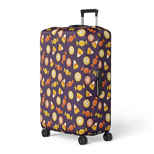 Pinbeam Luggage Cover Orange Candy Happy Halloween Sweets Purple Pattern Cute Travel Suitcase Cover Protector Baggage Case Fits 18-22 -