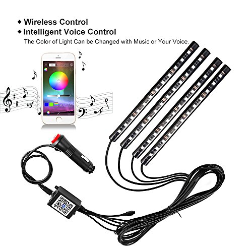 Car led strip lights wsiiroon 4pcs 48 led bluetooth app controller car led strip lights wsiiroon 4pcs 48 led bluetooth app controller interior lights multi color music car strip light under dash lighting kit with sound mozeypictures Images