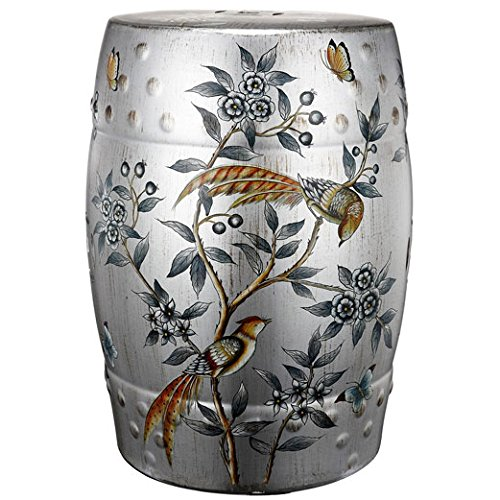 Ceramic Garden Stool Bird On Branch Design 14''x18''