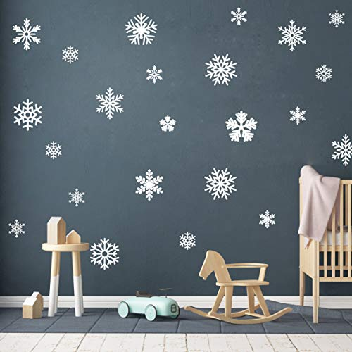 44 pcs Snowflake Wall Decal Set, Snowflakes Window Stickers, Christmas Wall Decals, Snow Flake Decals, Holiday Wall Decals, Snowflake Decals(Y23)(White) -