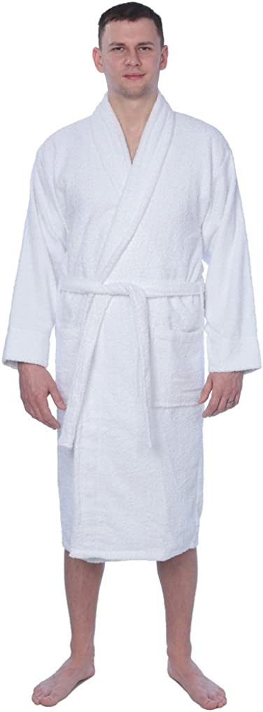 Men's 100% Cotton Shawl Collar Robe Terry Cloth Bathrobe Available in Plus Size