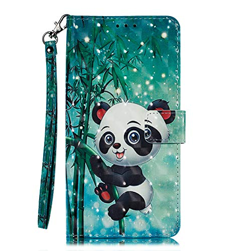 OrangePlus Case Compatible for Samsung Galaxy S10e Case, [Wallet Stand Folio Style] PU Leather Flip Cover with Credit Card Slots/Side Cash Pocket/Magnetic Clasp Closure (Big Eye Panda)