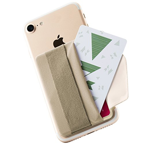 Sinjimoru Phone Grip Card Holder with Flap, Credit Card Stick-On Wallet Functioning as Phone Holder, Safety Finger Strap for iPhone and Android Sinji Pouch B-Flap, Beige