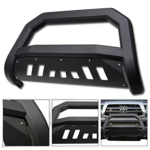 VXMOTOR for 2005-2015 Toyota Tacoma Matte Black AVT Edge Bold Series Bull Bar Brush Push Front Bumper Grill Grille Guard with Skid Plate