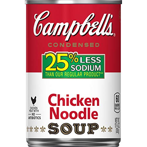 - Campbell's 25% Less Sodium Condensed Soup, Chicken Noodle, 10.75 Ounce