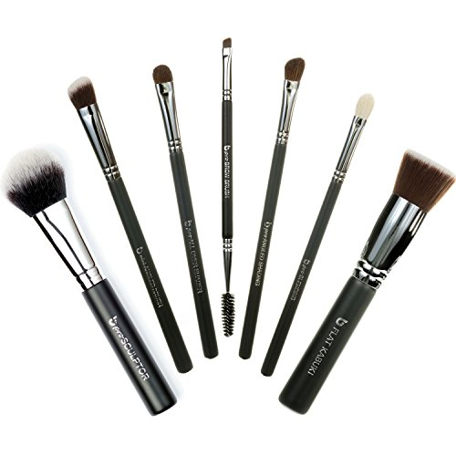 Basic Travel 7pc Makeup Brush Set Includes Flat Top Kabuki, mini Angled Kabuki, pro Angled Shading, pro All Over Shader, pro Blending, pro Brow, pro Sculptor