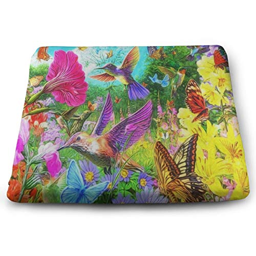Ladninag Seat Cushion Hummingbird Flower Floral Butterfly Chair Cushion Hot Offices Butt Chair Pads for Outdoors