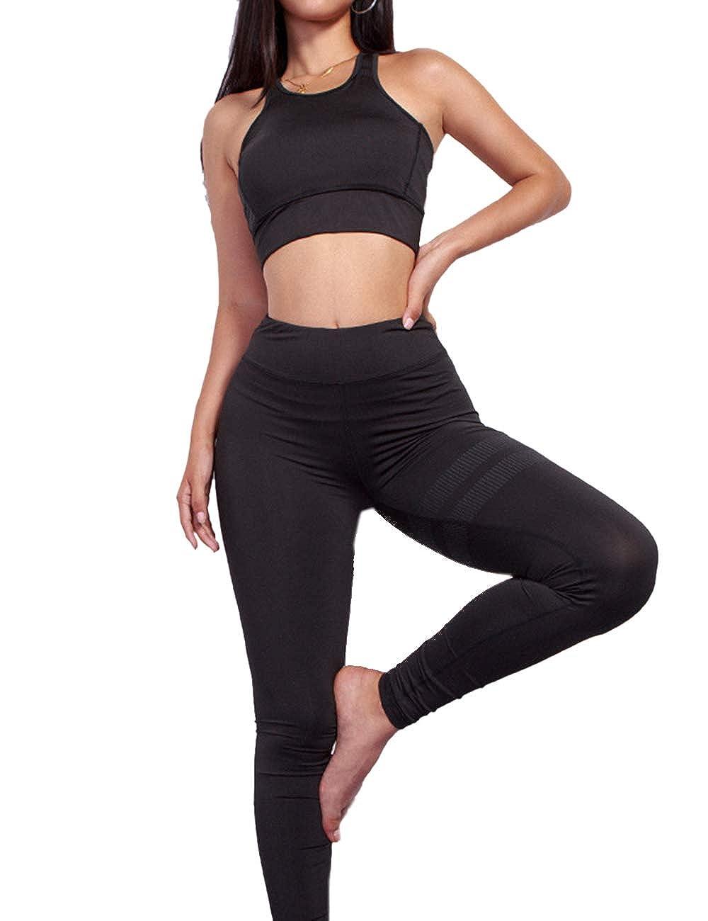 MACCHIASHINE Womens 2 PCS Pattern Print Sports Bra Pants Set Yoga Wear Set Racerback Bra and Leggings Tights(BL2.S)