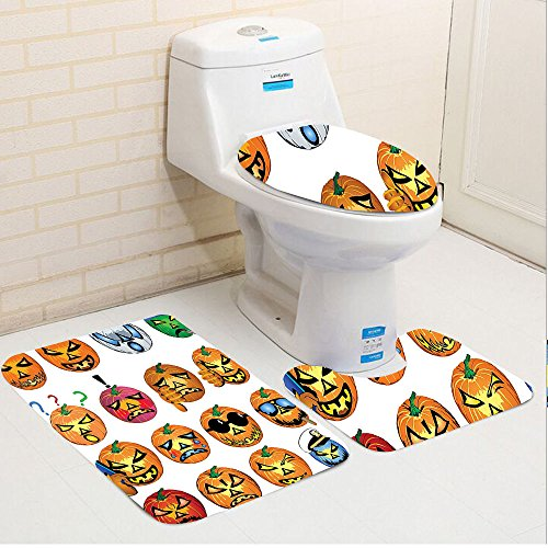 Keshia Dwete three-piece toilet seat pad customHalloween Carved Pumpkin with Emoji Faces Halloween Humor Hipster Monsters Harvest Graphic Art Orange