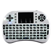 Mini 2.4G Touchpad Remote Control Fit for Wireless Keyboard i8 Air Mouse, for Google Android TV BOX X92 Z4 T96 PC PS3 Gamepad (White)