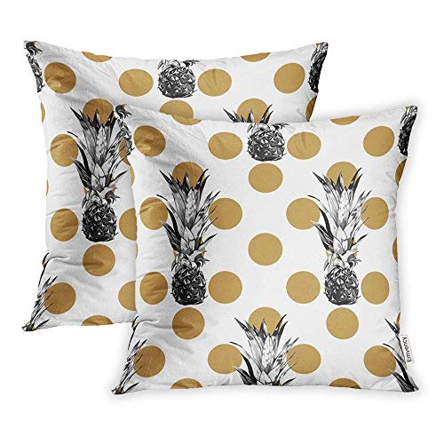 (Rdkekxoel Set of 2 Throw Pillow Covers Beautiful Retro Floral Tropical Pattern Pineapples Abstract Geometric Polka Dot Pillowcase 18x18 Square Decor for Home Bed Couch Sofa)