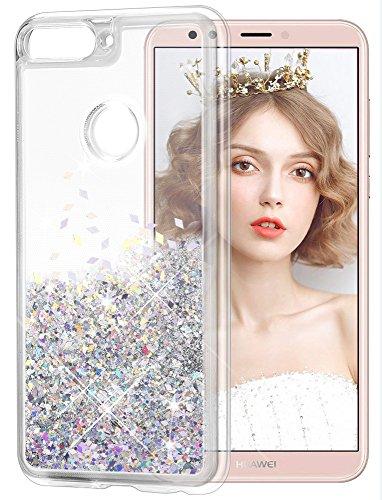 wlooo Funda para Huawei Y7 2018, Glitter liquida Cristal Silicona Lujo 3D Bling Flowing Sparkly Cute Transparente Cover protector Suave TPU Bumper Case ...
