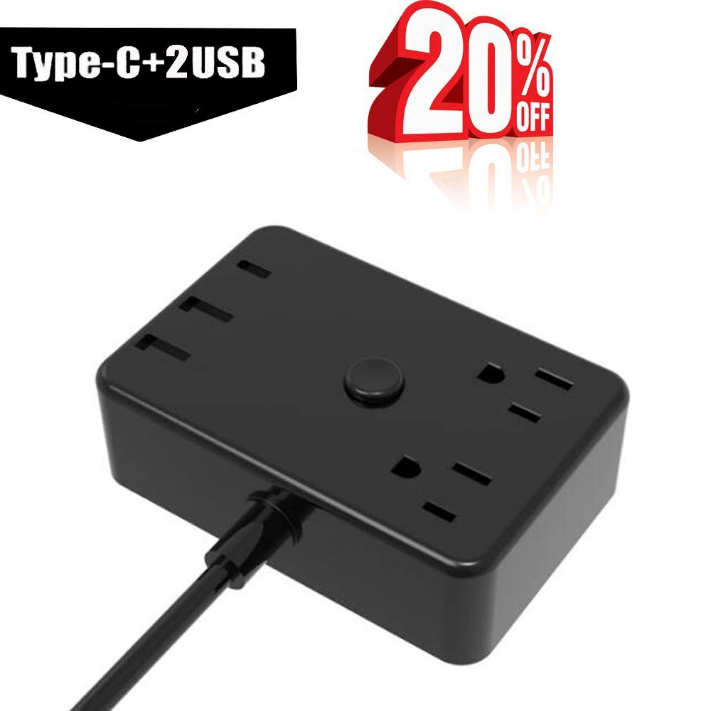 Surge Protector Power Strip with USB Smart Charger.Desk 2-Outlets 1250 W.Small Socket with Type-C Charging Port(5V 3A).4.6 ft Power Cord Extension,Home Office Nightstand Travel Charger Station-Black