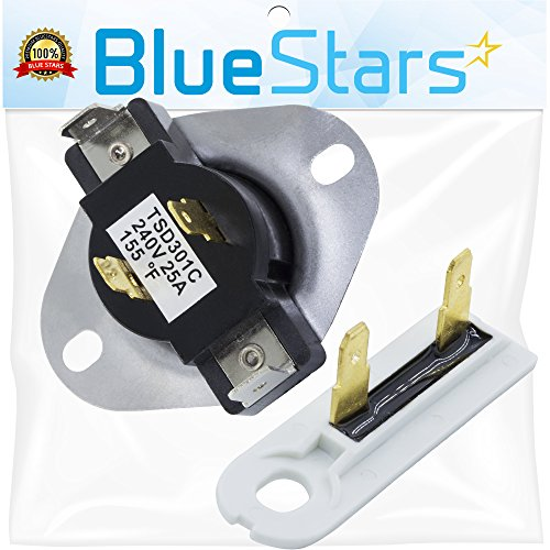 Price comparison product image 3387134 & 3392519 - Cycling Thermostat & Thermal Fuse Replacement part by Blue Stars - Exact fit for Whirlpool & Kenmore Dryer