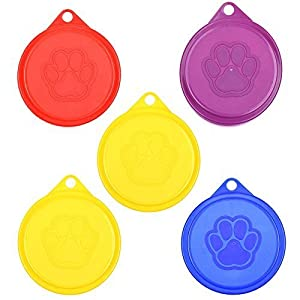 COSMOS Pack of 5 Pet Cat Dog Food Storage Can Covers Lids, Random Color 13