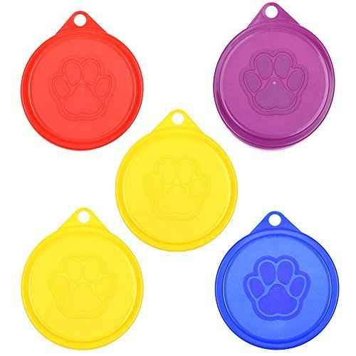 COSMOS Pack of 5 Pet Cat Dog Food Storage Can Covers Lids, Random Color ()