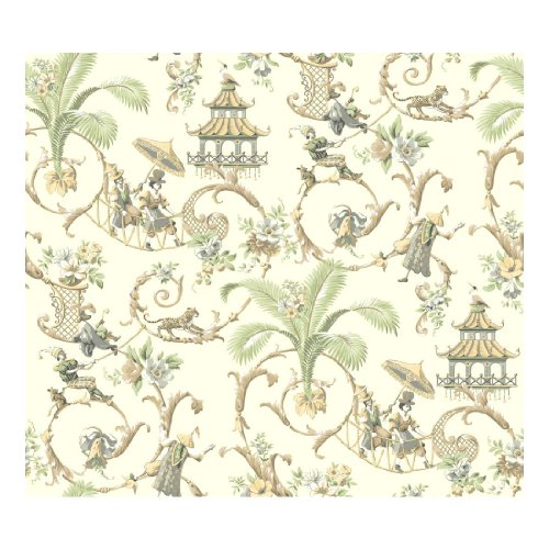 (York Wallcoverings Waverly Classics Mandarin Prose Removable Wallpaper, Eggshell/Gray/Cocoa/Mint/Buff/White )