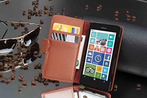 Cadorabo - Funda Nokia Lumia 630 / 635 Book Style de Cuero Sintético en Diseño Libro - Etui Case Cover Carcasa Caja Protección con Tarjetero en ROJO-INFIERNO MARRÓN-COGNAC