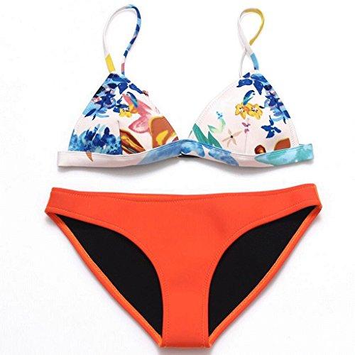 Maquillaje traje de baño de impresión retro neopreno Split bikini spa traje de baño playa de baño Purple