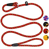 Coolrunner Dog Rope Leash, 5 FT Pet Slip Lead, Dog Training Leash, Standard Adjustable Pet Nylon Leash for Small Medium Dogs 10-80 lb Walking(Red)