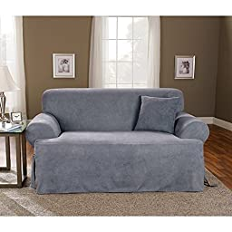 Sure Fit Soft Suede T-Cushion - Sofa Slipcover  - Smoke Blue (SF34667)