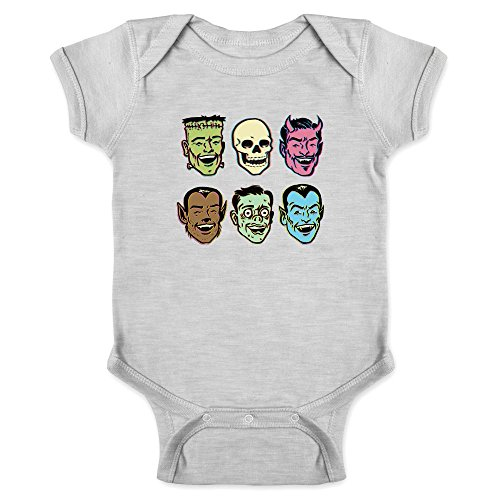Pop Threads Retro Monster PartyHalloween Costume Zombie Gray 18M Infant Bodysuit ()
