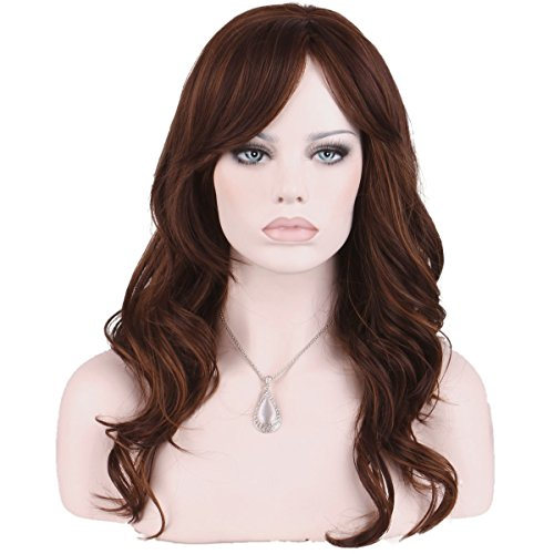 (KeeWig Synthetic Auburn Wig Long Wavy Piano Blend Light and Dark Auburn and Strawberry Blonde KATE #P27/30/33)