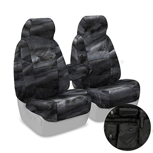 Coverking Custom Fit Front 50/50 High Back Bucket Tactical Seat Cover for Select Ford Bronco Models - Cordura/Ballistic A-TACS Camo (Law Enforcement)