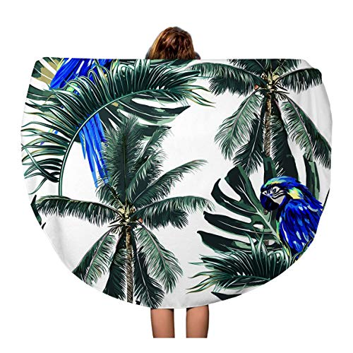 - Semtomn 60 Inches Round Beach Towel Blanket Parrots Exotic Birds Palm Trees Jungle Leaves Leaf Beautiful Travel Circle Circular Towels Mat Tapestry Beach Throw