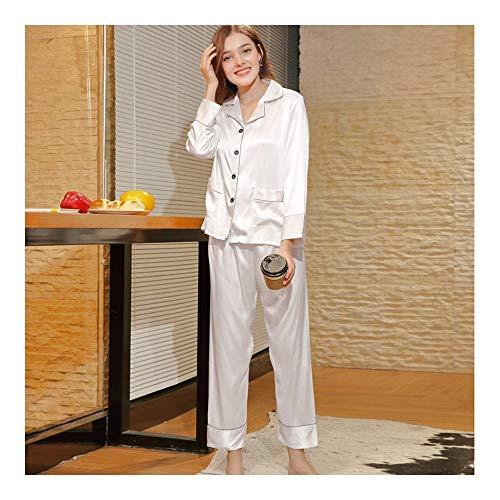HAOLIEQUAN Sleep Lounge Satin Donna Pigiama Primavera Sleepwear Donna Manica Lunga Abbigliamento Da Interni In Seta Casual bianca