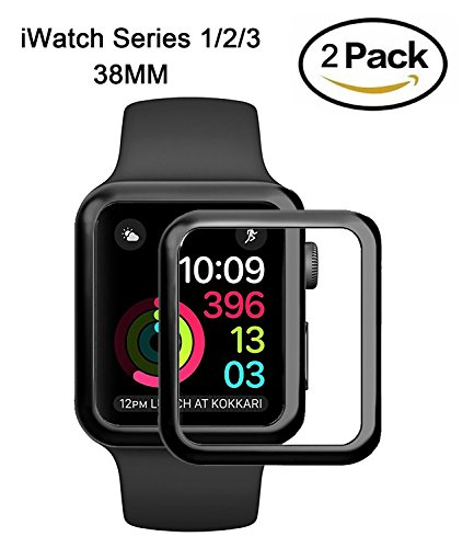2 Pack Apple Watch Screen Protectors, Youniker 3D Full Coverage Apple Watch Screen Protector 38mm Tempered Glass Screen Protector for Apple iWatch 38mm (Series 1/Series 2/Series 3) by Youniker
