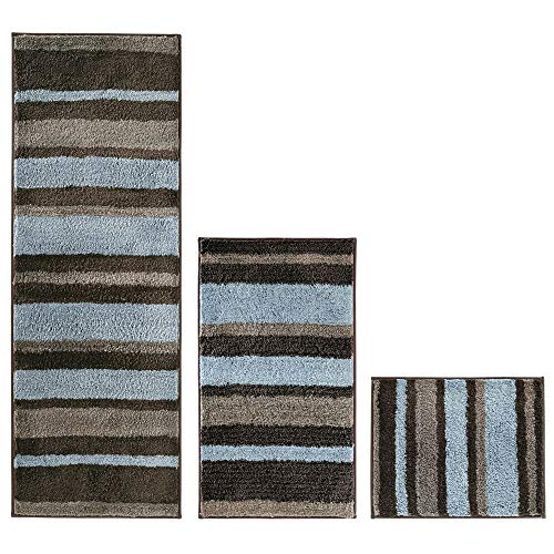 mDesign Striped Microfiber Polyester Spa Rugs for Bathroom Vanity, Tub/Shower - Water Absorbent, Machine Washable - Includes Soft Non-Slip Rectangular Accent Rug Mat in 3 Sizes - Set of 3 - Mocha/Gray ()