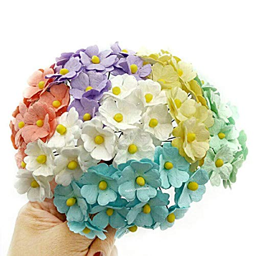 (NAVA CHIANGMAI 60 pcs mixed Two Layer Mulberry Paper Flower 20 mm scrapbooking wedding doll house supplies)
