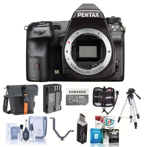 Pentax K-3 II Digital SLR Camera Body, 24.35MP - Bundle with 64GB SDXC Card, Spare Battery, Camera Case, Tripod, Cleaning Kit, Card Reader, Tripple Shoe V Bracket, Memory Wallet, Software Bundle (Charger Kit Pentax)
