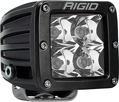 Rigid Industries 201213 D-Series Pro Spot Light; Surface Mount; Hybrid; 4 White LEDs; Black Square Housing; Single;