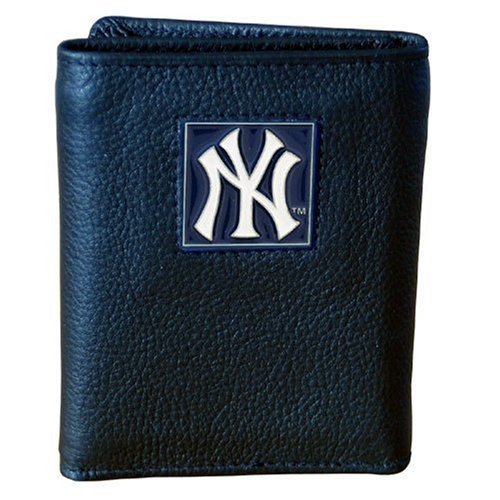 MLB New York Yankees Genuine Leather Tri-fold Wallet - New York Yankees Leather Picture