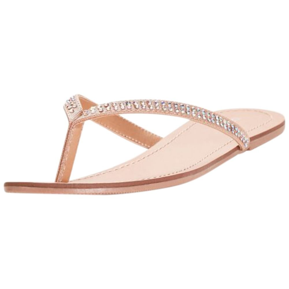 David's Bridal Classic Flip Flops with Iridescent Stones Style Valentina, Champagne, 10