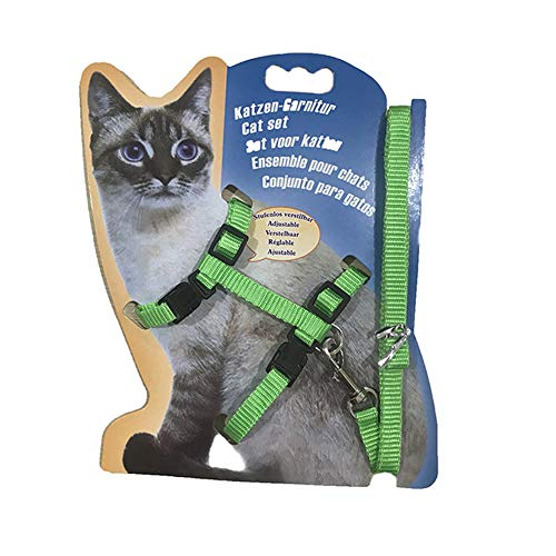 Gizhome Cat Harness and Leash Adjustable Halter Harness Nylon Strap Belt Safety Rope Leads for Home Kitten - Green