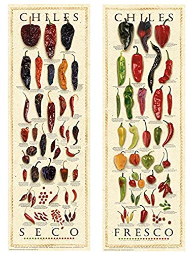 The Great Chile Poster - Picture Peddler Laminated Chiles Fresh and Dried Set by Ziegler & Keating Kitchen Cooking Print Poster 12x36