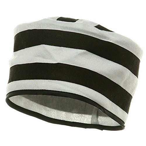 (J Black & White Striped Prisoner Jailbird Costume)