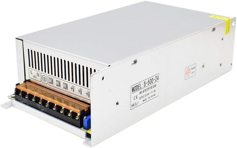 DC 24V Fuente de Alimentación Conmutada AC 110V / 220V a 24V 20A 500W Convertidor de Conmutación para Tiras de LED, Cámara CCTV