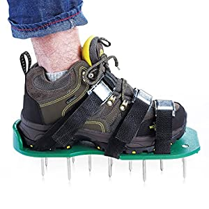 Lawn Aerator Shoes with 4 Adjustable Straps and Aluminium Alloy Buckles, 2 Extra Spikes and Wrench - Spiked Sandals Shoes Garden Tool - One Size Fits All